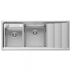 Pyramis Studio Double Bowl Stainless Steel Sink With Right Hand Drainer (107149630)