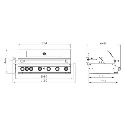 Smart 6 Burner Stainless Steel Built In BBQ Product Dimensions