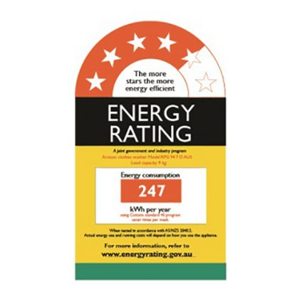 RPG Energy Rating Label - 9kg Natis Ariston Washing Machine