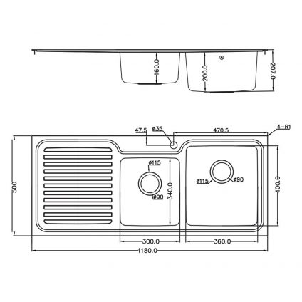 TSF1180L Tisira Double Bowl Stainless Steel Sink - Product Dimensions