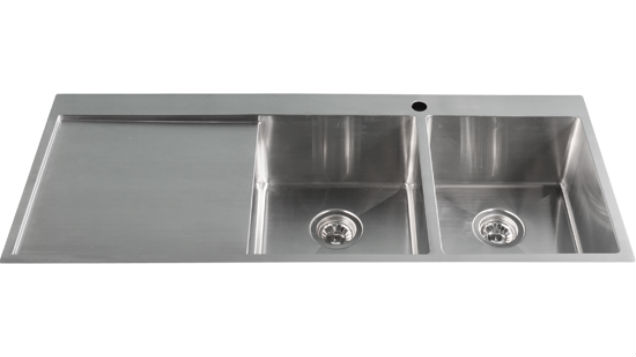 Double Kitchen Sink With Drainer : TSSR1200R-Double Bowl Right Hand Drainer