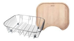 Pyramis Wood Chopping Board & Wire Drying Rack Bundle