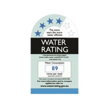 RPG Water Rating Label - 9kg Natis Ariston Washing Machine
